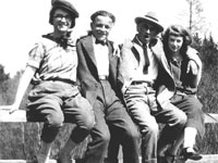 At Wilsons Bridge in Gays River, NS. Blanche Campbell Cook, Clarence Ralph Cook, Ross Gaston Cook, and Amy Baker Cook. Cheryl Kellett Collection