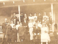 Family photograph for the 1911 wedding of James Lester Cook (1890-1970) and Ethel E. E. Smith (1895-1979) In Bridal Veil, Oregon. Karen Cook Hubbard Collection